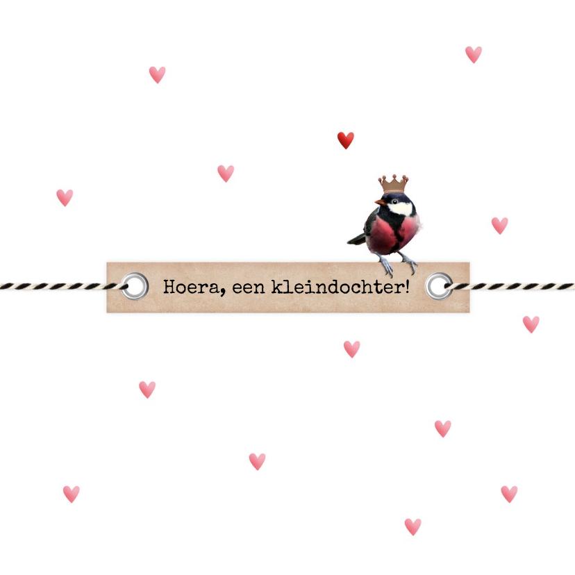 Felicitatiekaarten - Kleindochter koolmeesje op label roze hartjes