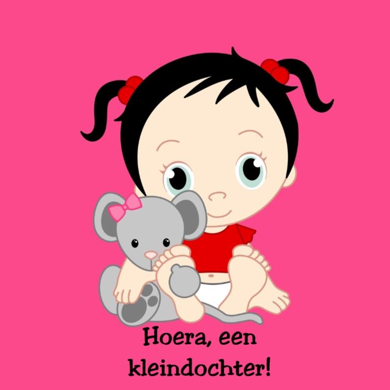 Felicitatiekaarten - Kleindochter met knuffel muis