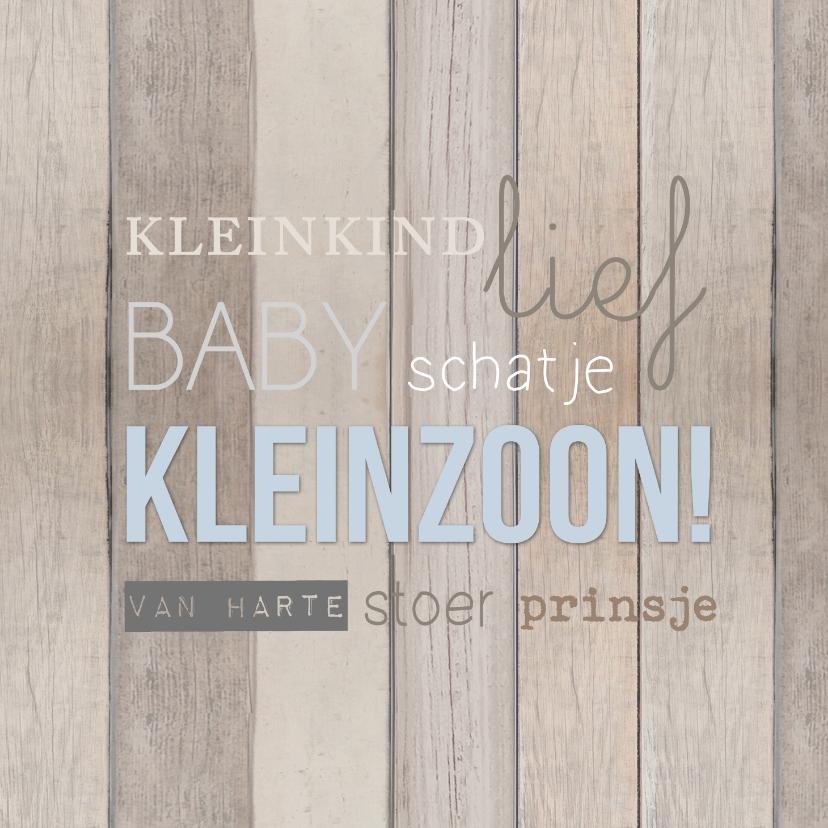 Felicitatiekaarten - Kleinzoon hout tekst