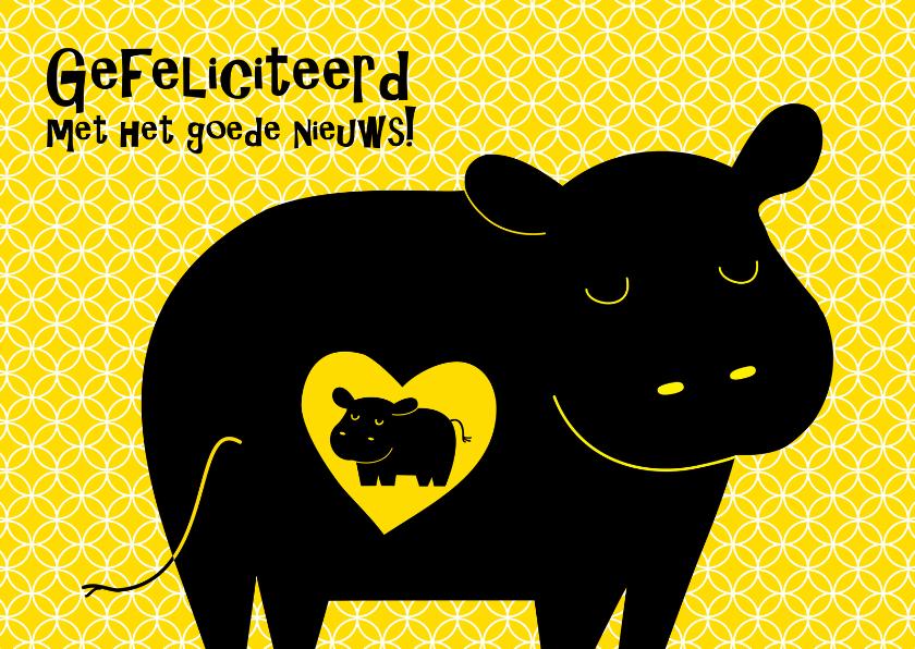 Felicitatiekaarten - Kleurrijke zwangere nijlpaard