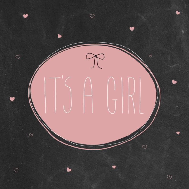 Felicitatiekaarten - Krijtbord, hartjes, roze