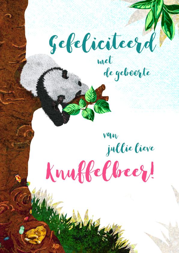 Felicitatiekaarten - Lief geboorte felicitiatie kaartje met slapende panda