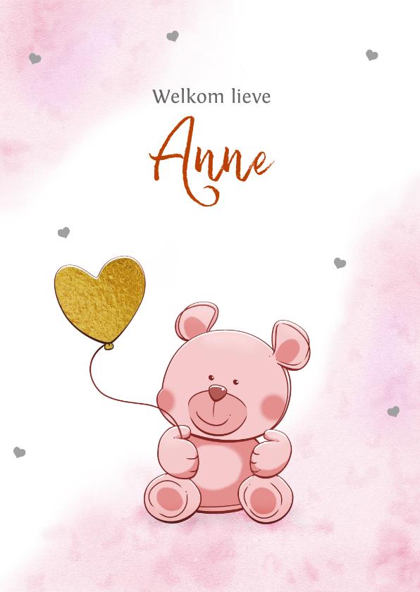 Felicitatiekaarten - Leuk felicitatiekaartje met een grappig beertje en hartjes