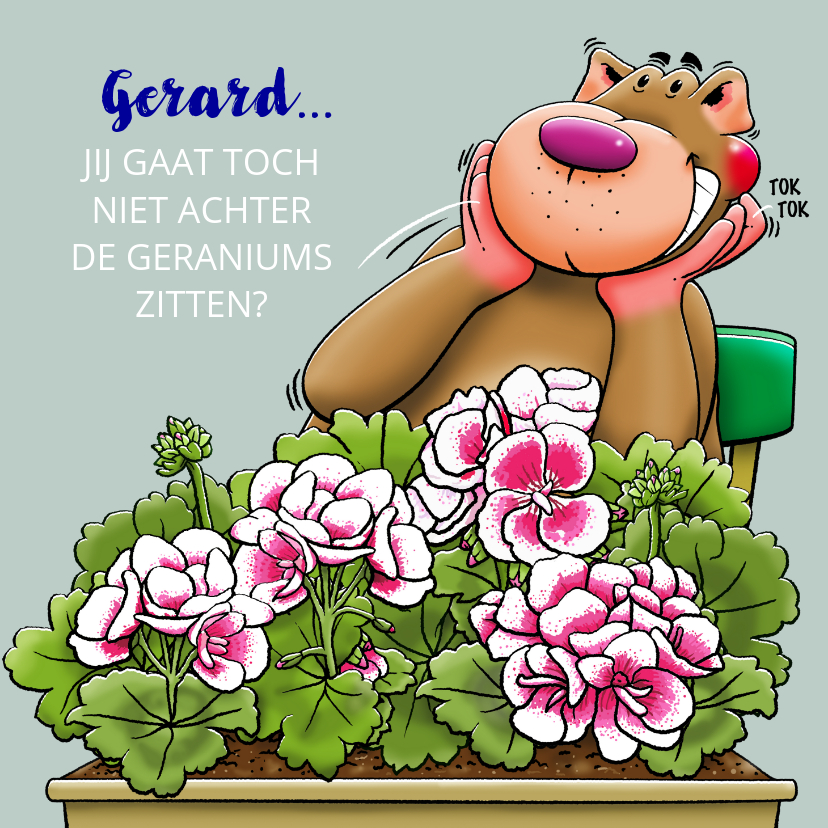 Felicitatiekaarten - Leuke felicitatie pensioenkaart, achter de Geraniums zitten