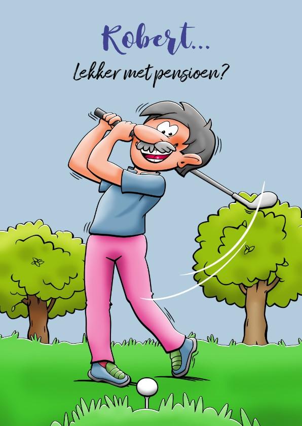 Felicitatiekaarten - Leuke felicitatiekaart met golfspeler die met pensioen gaat