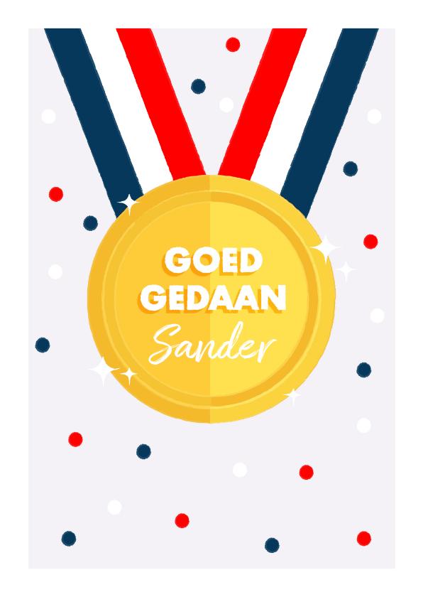 Felicitatiekaarten - Leuke felicitatiekaart met medaille en Nederlandse vlag