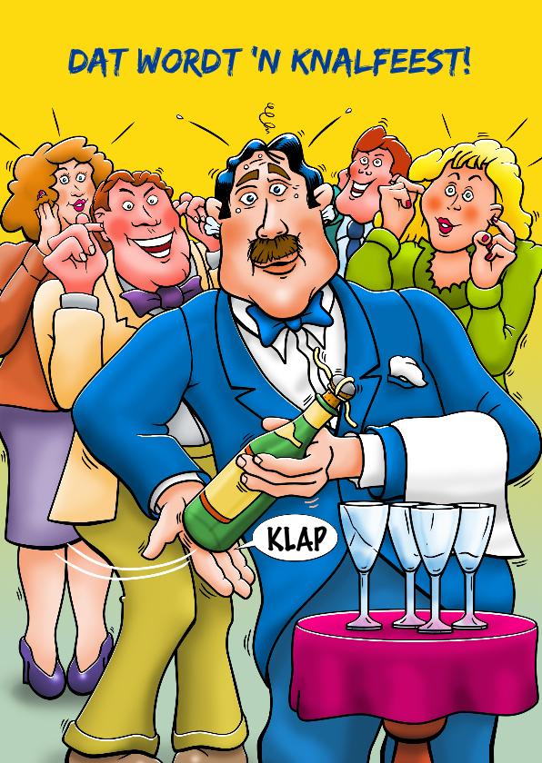 Felicitatiekaarten - Leuke felicitatiekaart ober met champagne