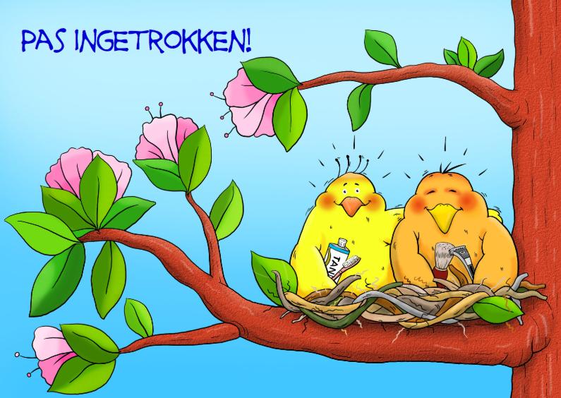 Felicitatiekaarten - Leuke samenwonen kaart met 2 vogels op nest in boom