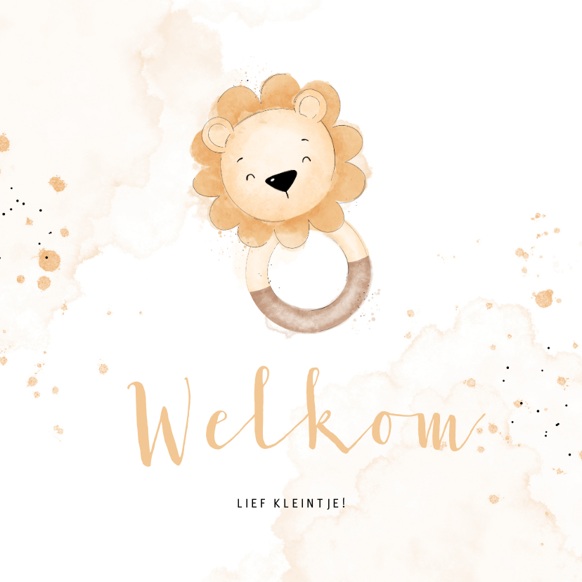 Felicitatiekaarten - Lief felicitatiekaartje bijtring met leeuwtje