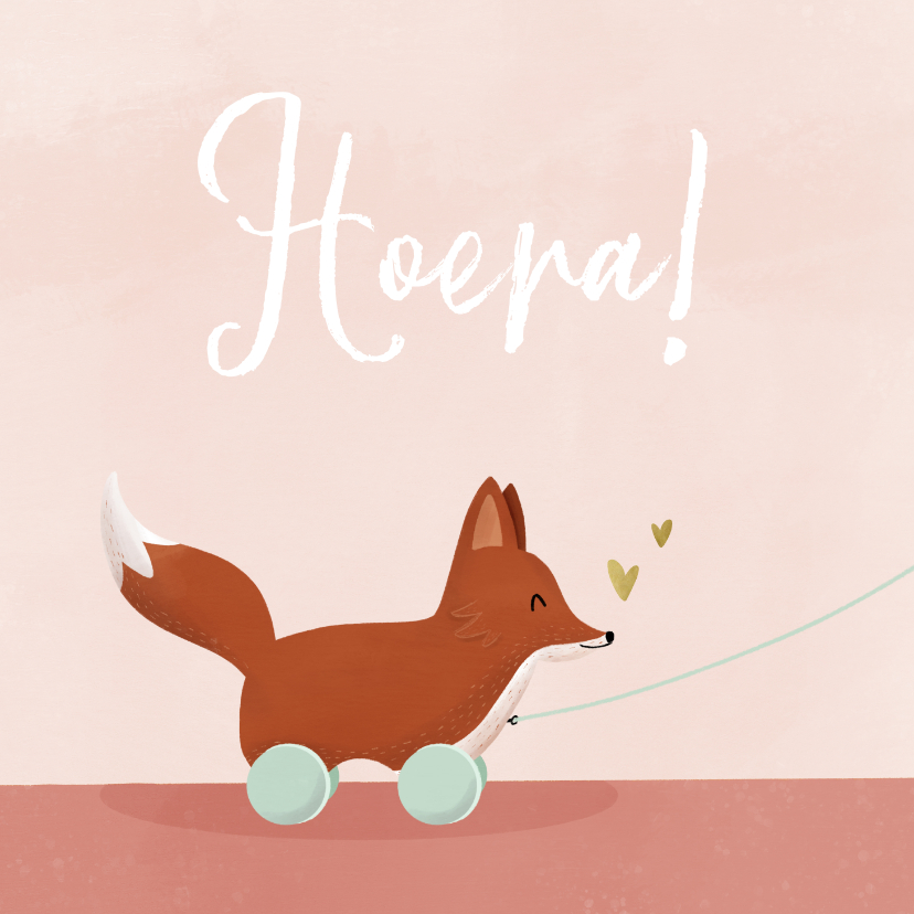 Felicitatiekaarten - Lief felicitatiekaartje geboorte met vosje