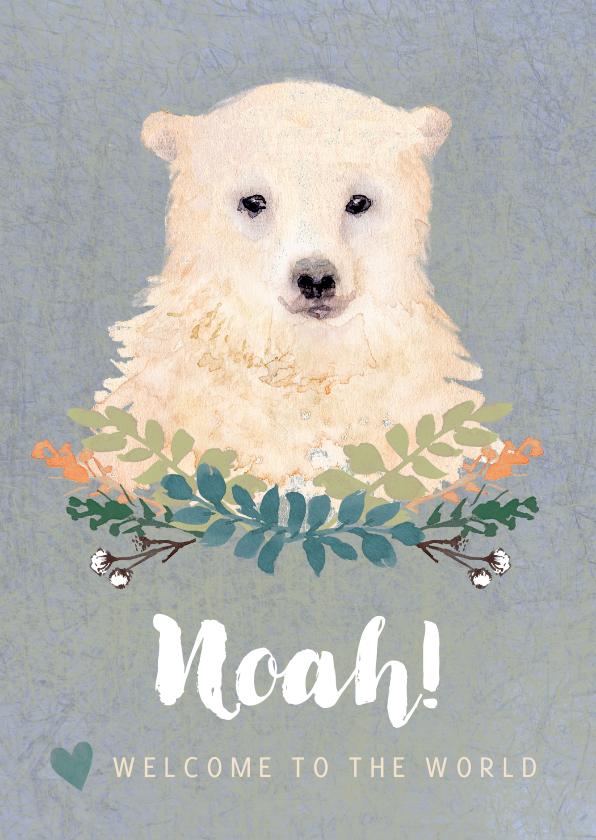 Felicitatiekaarten - Lief felicitatiekaartje met een baby ijsbeer