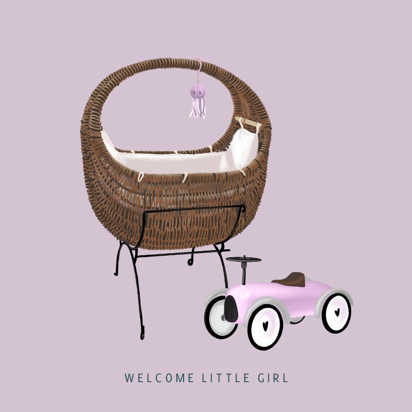 Felicitatiekaarten - Lief felicitatiekaartje met wieg geboorte meisje