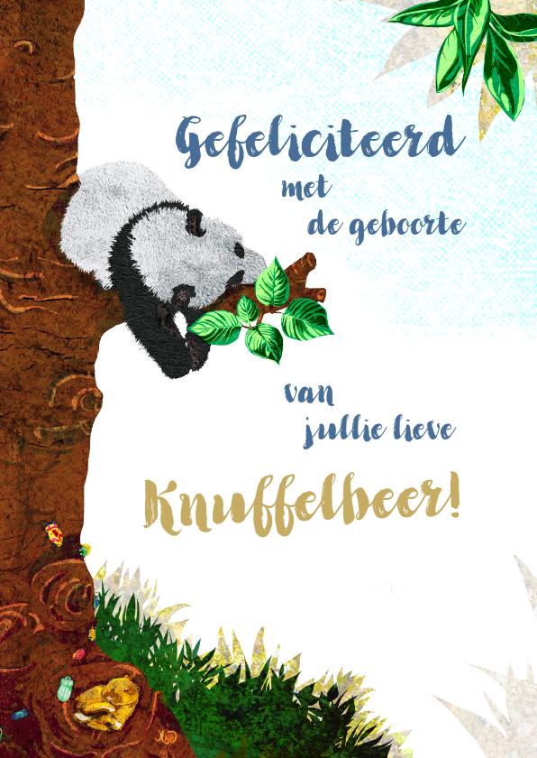Felicitatiekaarten - Lief geboorte felicitiatie kaartje voor een jongen met panda