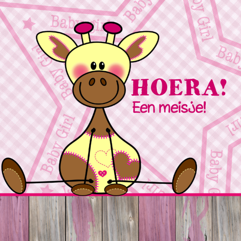 Felicitatiekaarten - Lief meisje geboren Giraffe ROZE