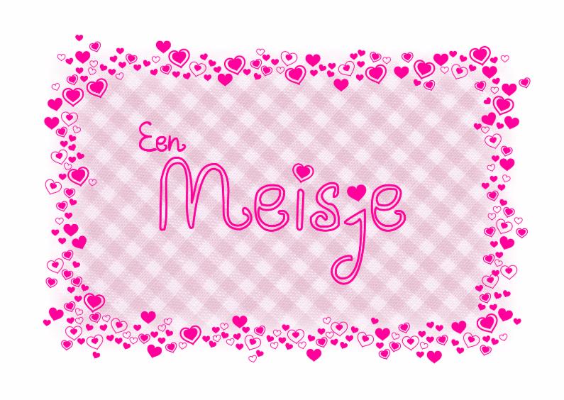 Felicitatiekaarten - lief roze kaartje met ruitjes en hartjes