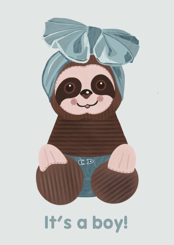 Felicitatiekaarten - Lieve felicitatiekaart geboorte jongen met luiaard-knuffel