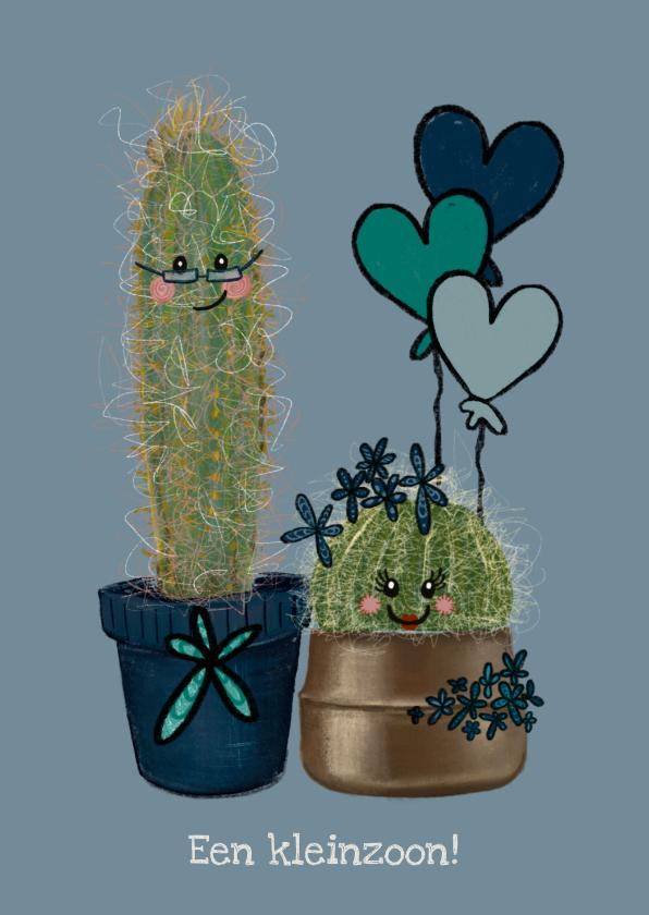 Felicitatiekaarten - Lieve felicitatiekaart geboorte kleinzoon met cactussen