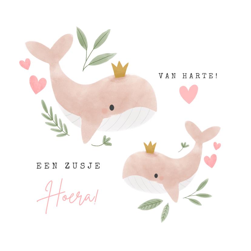 Felicitatiekaarten - Lieve felicitatiekaart grote zus met walvissen en hartjes