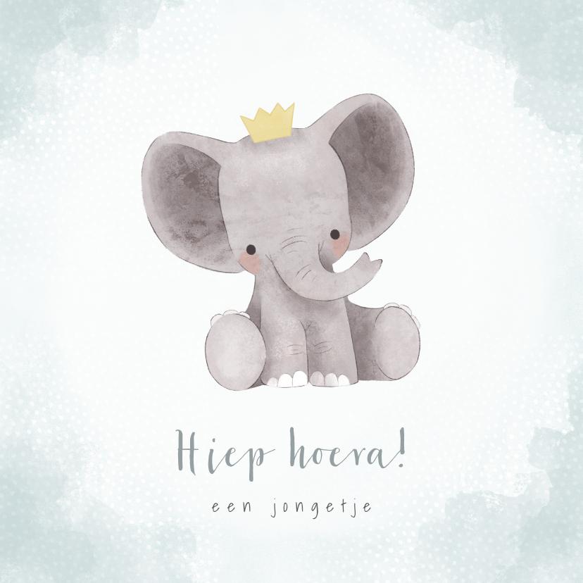 Felicitatiekaarten - Lieve felicitatiekaart jongetje met olifantje, waterverf
