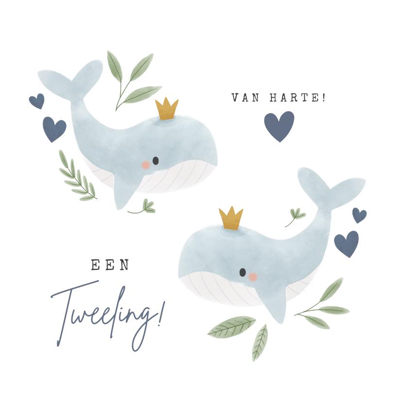 Felicitatiekaarten - Lieve felicitatiekaart jongetjes tweeling met walvissen