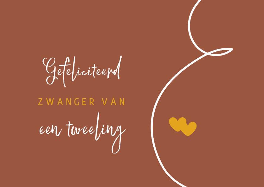 Felicitatiekaarten - Lijntekening zwanger tweeling