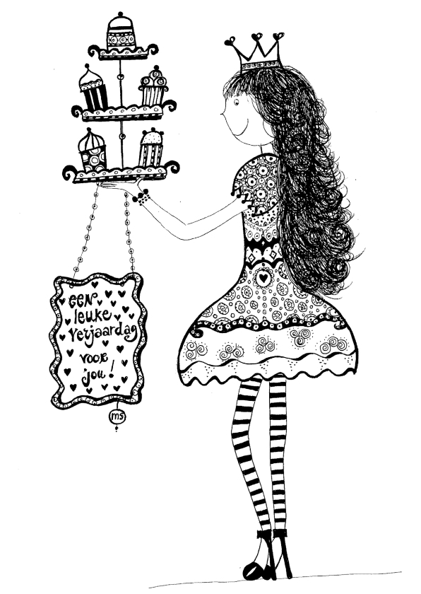 Felicitatiekaarten - Meisje met taartjes
