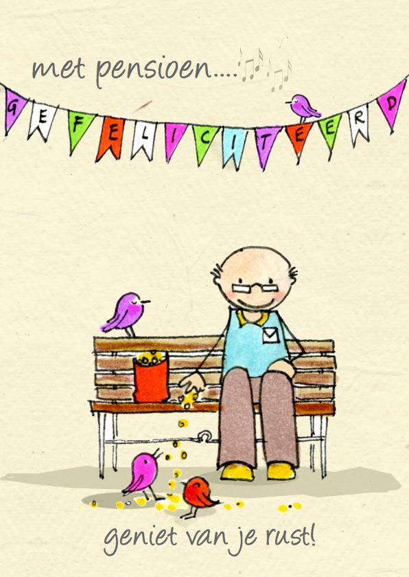 Felicitatiekaarten - Met pensioen bankje