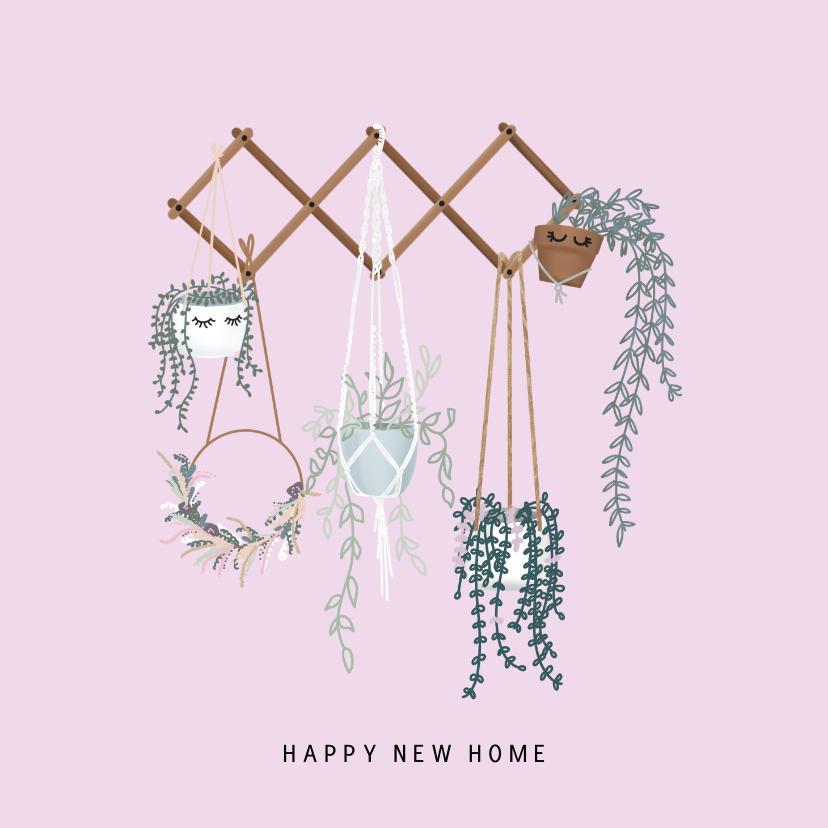 Felicitatiekaarten - Moderne felicitatiekaart voor nieuwe woning met hangplanten