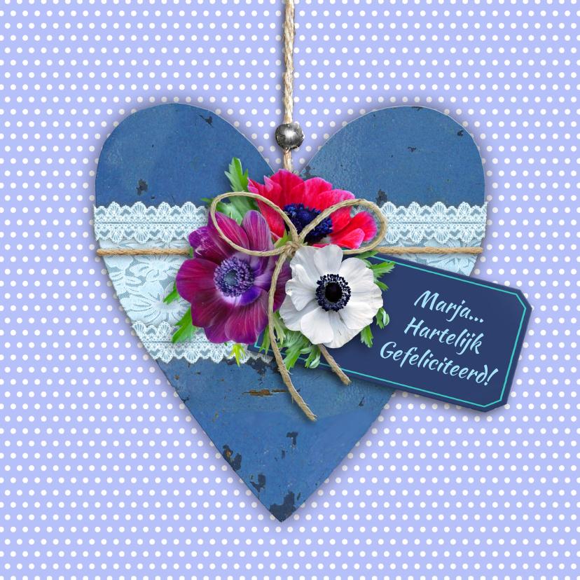 Felicitatiekaarten - Mooie felicitatiekaart hart met bloemen op stippen