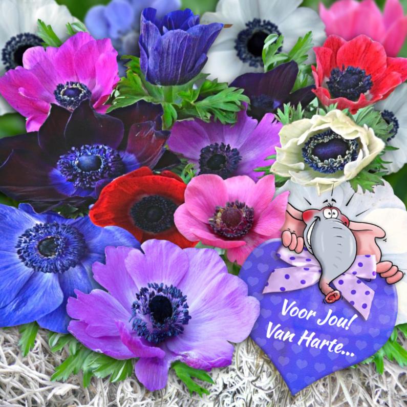 Felicitatiekaarten - Mooie felicitatiekaart met mooie anemonen en hart