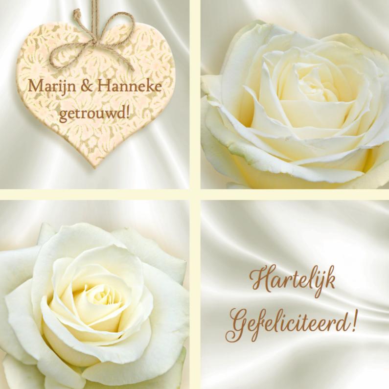 Felicitatiekaarten - Mooie felicitatiekaart roos en hart op witte zijden-print