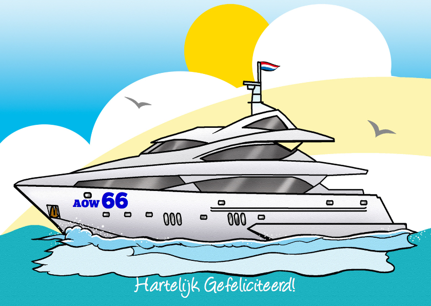 Felicitatiekaarten - Motorjacht met tekst AOW 66