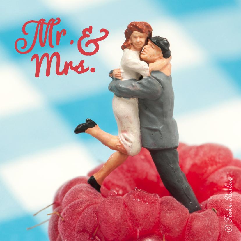 Felicitatiekaarten - Mr. & Mrs. op framboos