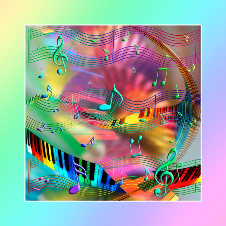 Felicitatiekaarten - muziek kleurtjes