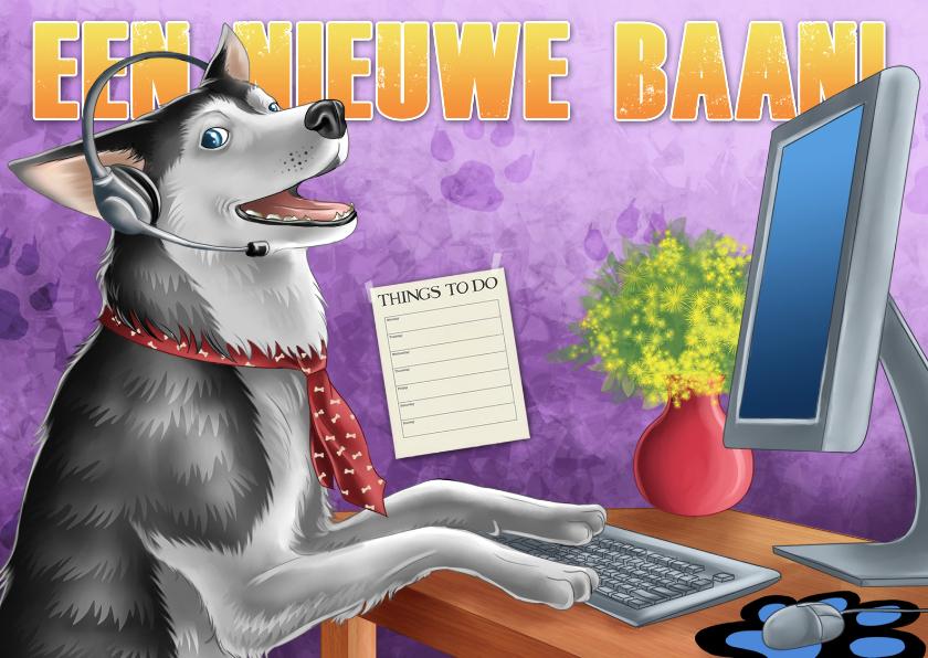 Felicitatiekaarten - Nieuwe baan Blije hond achter bureau