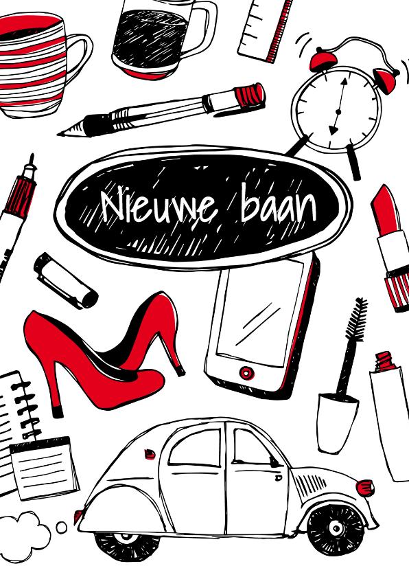 Felicitatiekaarten - Nieuwe baan tekeningen - vrouw