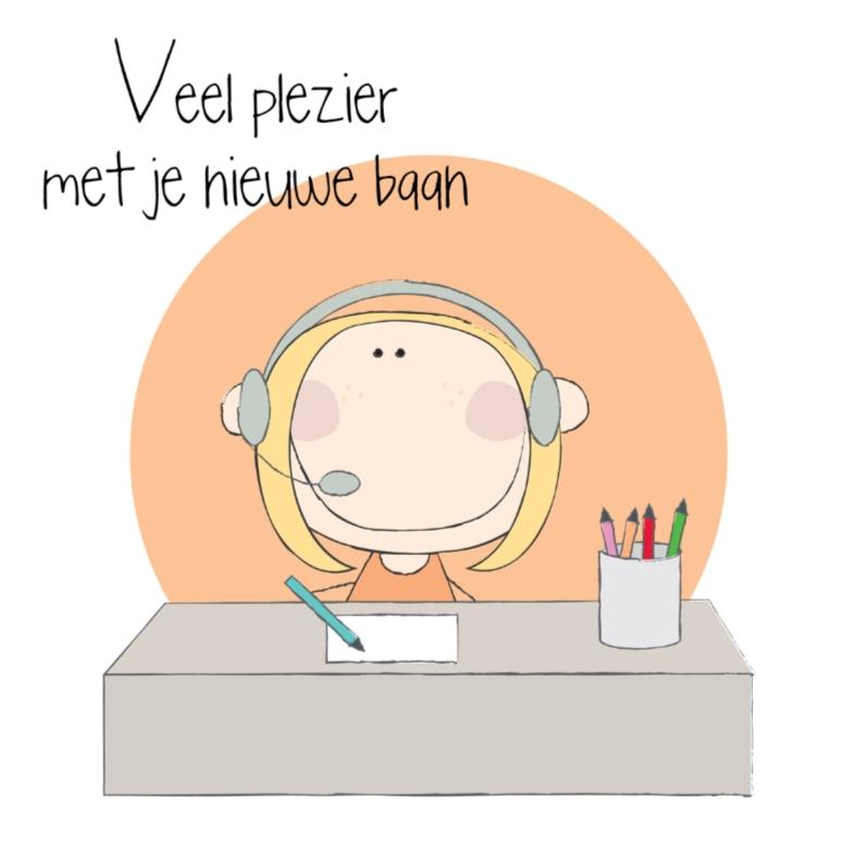 Felicitatiekaarten - Nieuwe baan telefoniste receptioniste