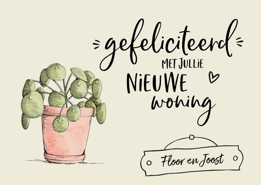 Felicitatiekaarten - Nieuwe woning - gefeliciteerd illustratie pannenkoekplant