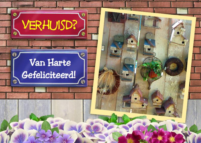 Felicitatiekaarten - Nieuwe woning vogelhuisjes op steen