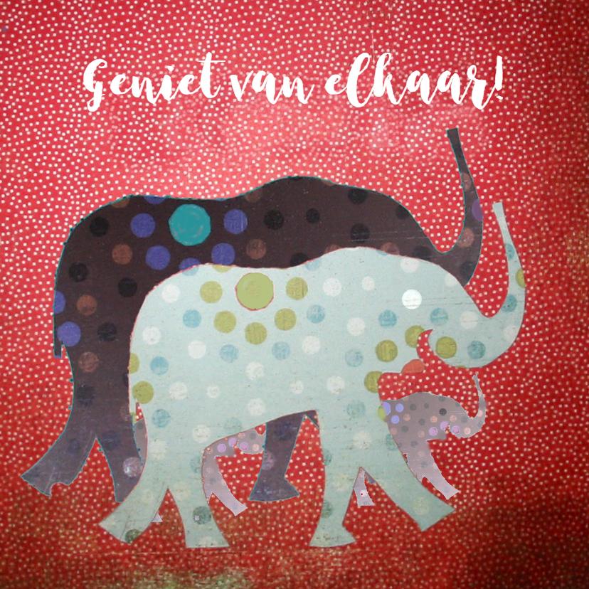 Felicitatiekaarten - Olifantenfamilie papiercollage