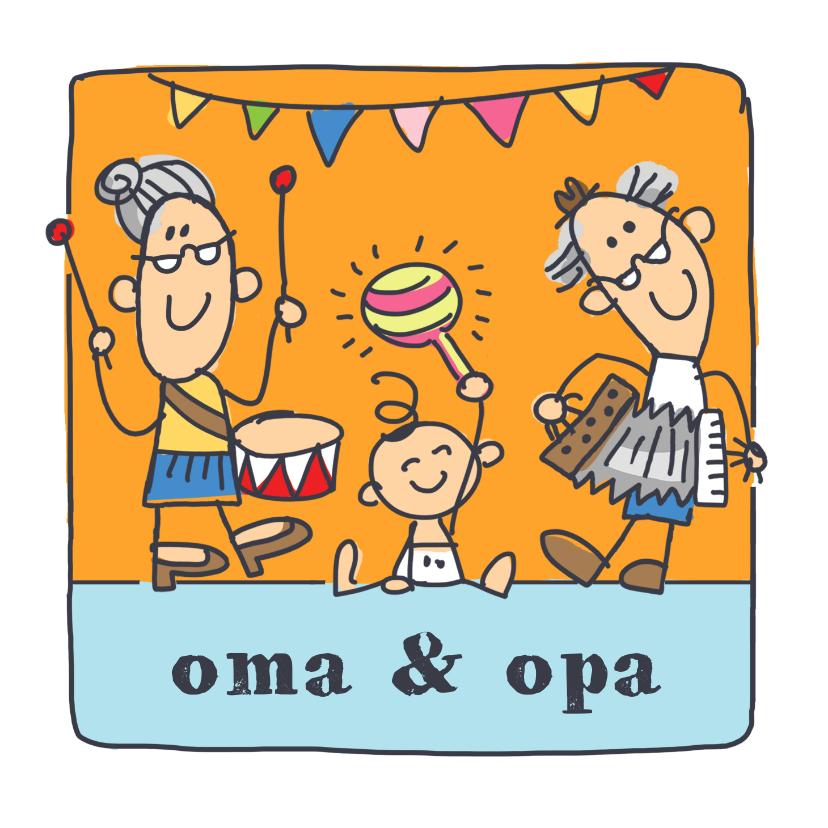 Felicitatiekaarten - Oma en opa felicitatiekaart met kleinkind en muziek