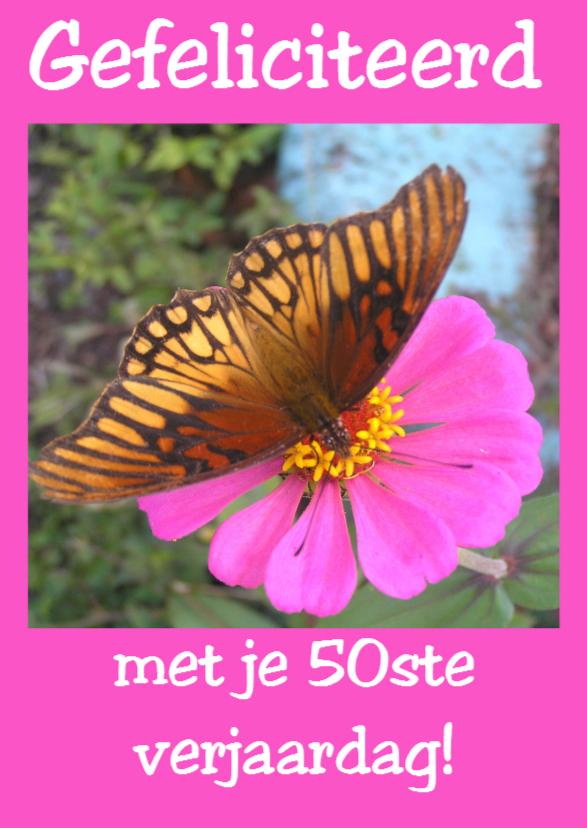 Felicitatiekaarten - Oranje vlinder op roze bloem