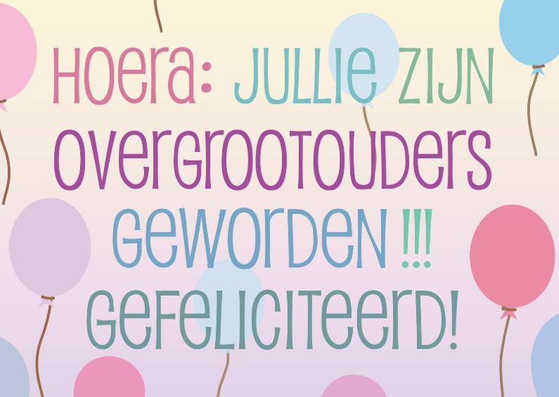 Felicitatiekaarten - overgrootouders rozeblauw