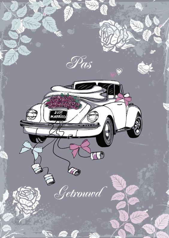 Felicitatiekaarten - pas getrouwd witte kever in grijs