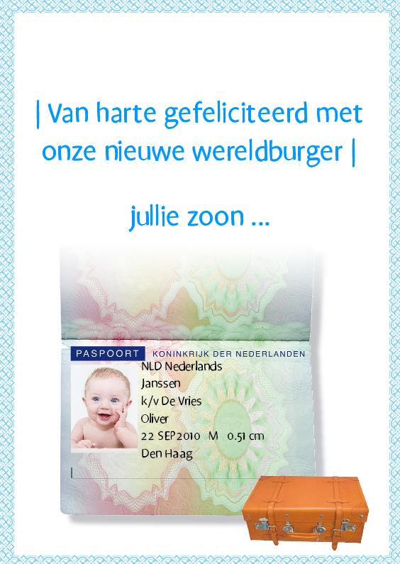 Felicitatiekaarten - Paspoortkaart Nieuwe Wereldburger blauw