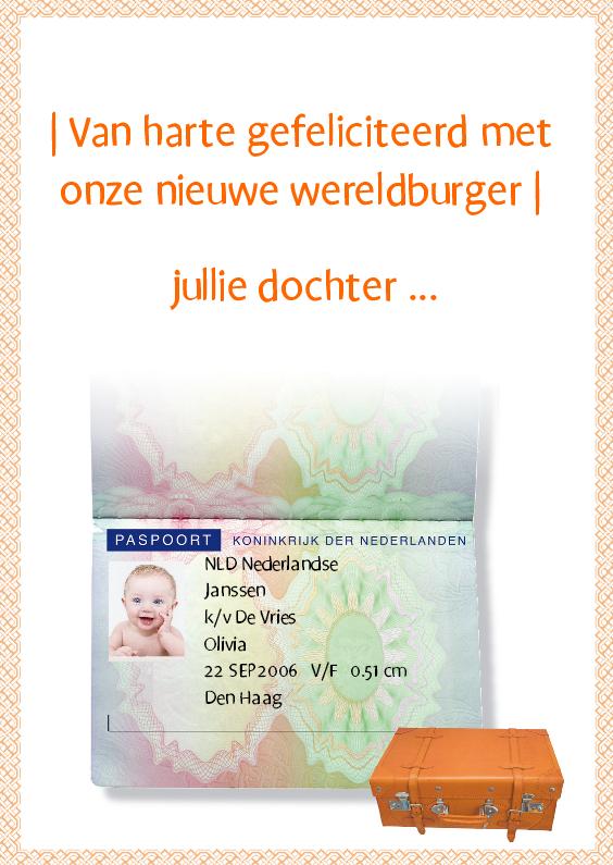 Felicitatiekaarten - Paspoortkaart Nieuwe Wereldburger