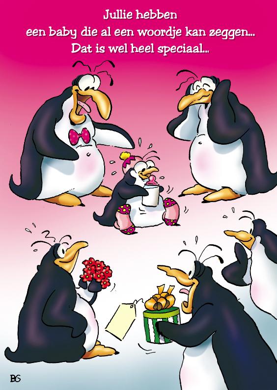Felicitatiekaarten - penguins geboorte dochter 1 met baby
