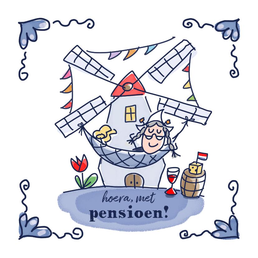 Felicitatiekaarten - Pensioenkaart holland vrouw in hangmat