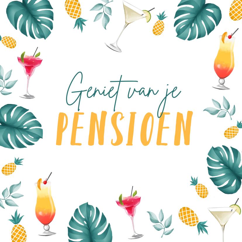Felicitatiekaarten - Pensioenkaart zomer relax geniet tropisch