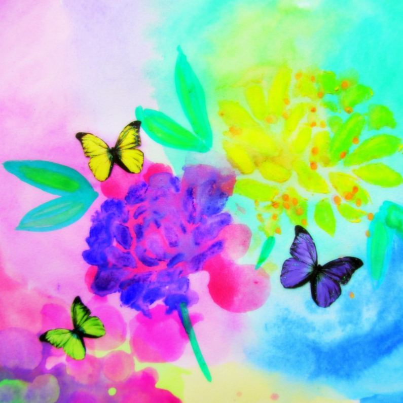 Felicitatiekaarten - Purple Flower & Butterflies
